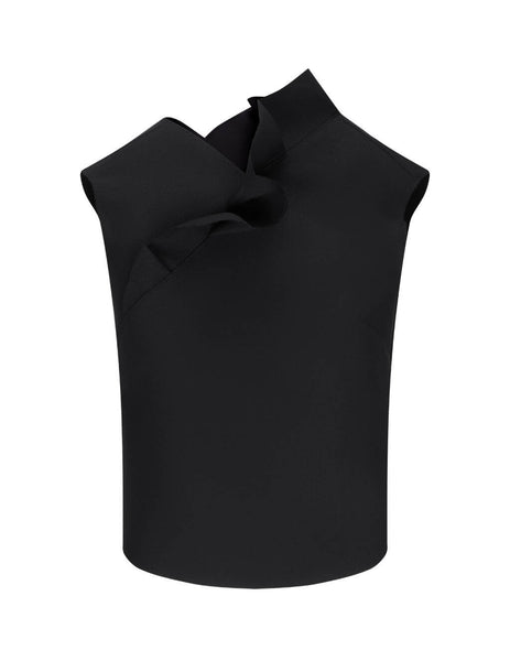 Women's MSGM Frill Insert Top in Black. 2941MDT03 207651 99