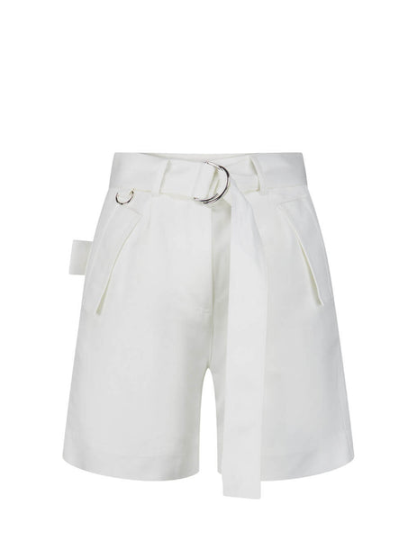 Women's White MSGM High-Rise Shorts 2842MDB11420731102