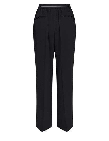 Women's MSGM Jacquard Logo Trousers in Black - 3041MDP12217116-99