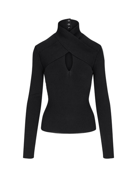 Women's MSGM Keyhole Jumper in Black. 2941MDM125 207790 99