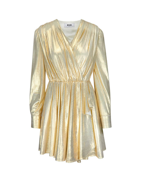 MSGM Women's Gold Metallic Dress 2741MDA3319561805