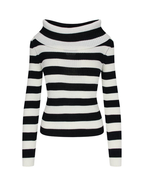 Women's MSGM Oversized Collar Jumper in Black/White. 2941MDM122 207765 01