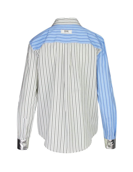 MSGM Women's Giulio Fashion White Patchwork Striped Shirt 2741MDE06Y19561901