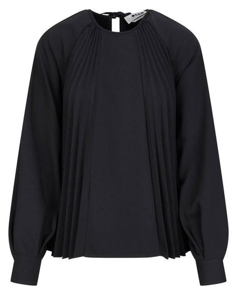 Women's MSGM Pleated Blouse in Black - 3041MDM13P217116-99