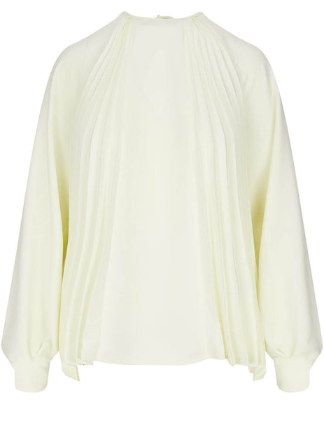 Women's MSGM Pleated Blouse in White - 3041MDM13P217116-02