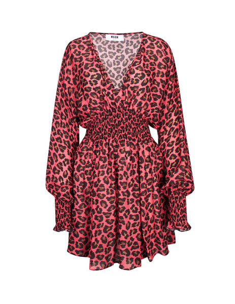 MSGM Women's Fuchsia Ruched Leopard Dress 2741MDA15219565414