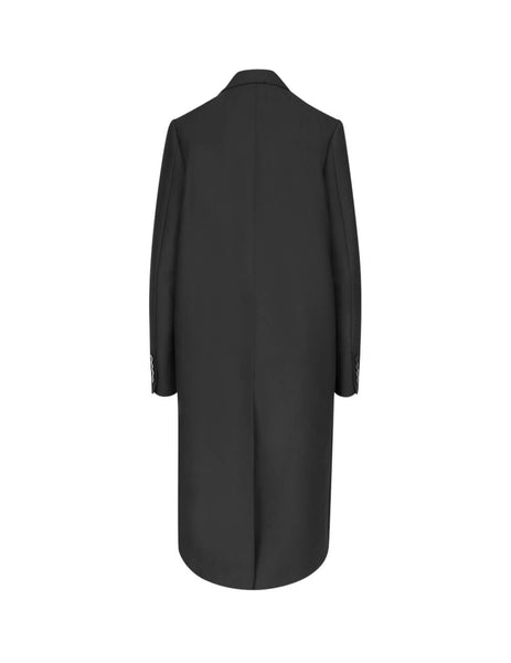 MSGM Women's Black Ruffle Wrap Coat 2741MDC0219560099
