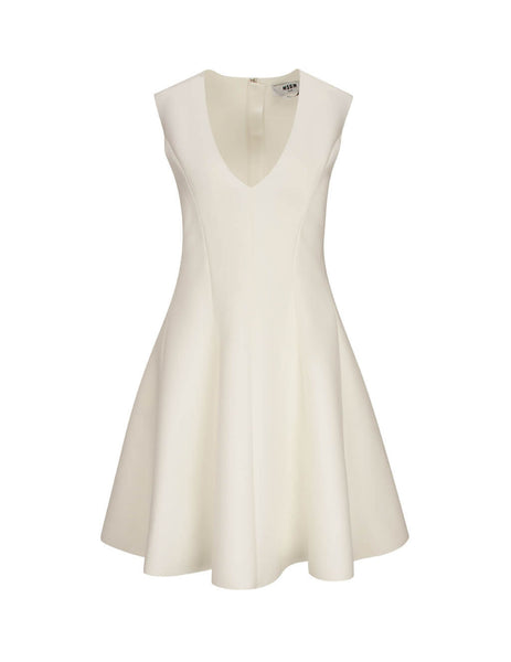 MSGM Women's Off White Shaped Dress 2841MDA0702