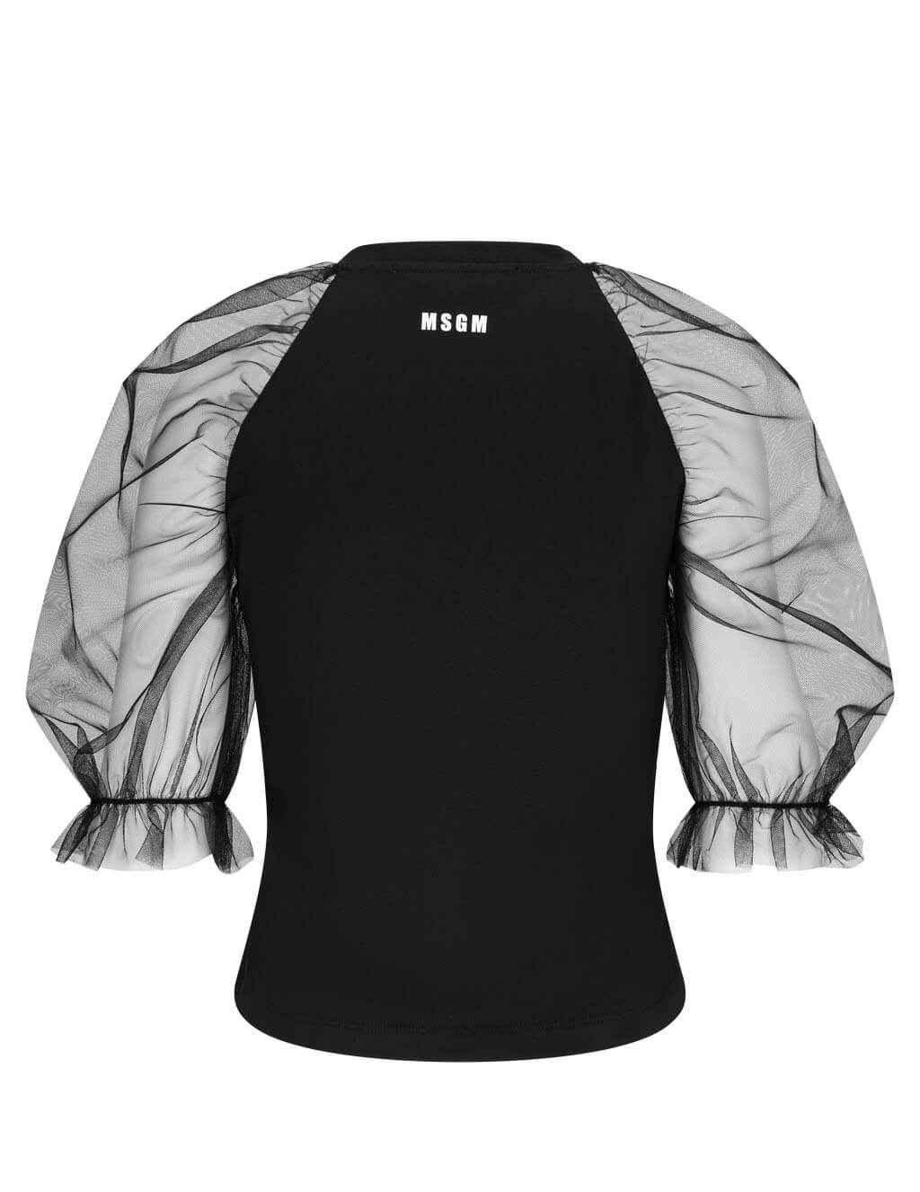 Women's MSGM Sheer Sleeve Top in Black. 2941MDM69 207798 99