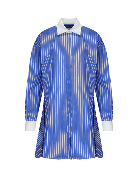 MSGM Women's Cyan Shirt Dress in Cotton 2841MDA22X84