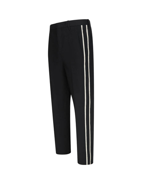 Men's Black Neil Barrett Cropped Side Stripe Trousers BPA784AN073514