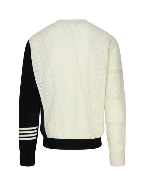 Neil Barrett Diagonal Cable Knit Hybrid Sweater BMA1125-P639C 2932
