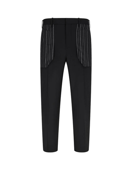 Men's Black Neil Barrett Striped Pocket Cropped Trousers BPA774CN116C1179