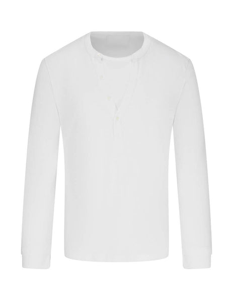 Neil Barrett Men's White Collar Insert T-Shirt BJT845-P507P 0303