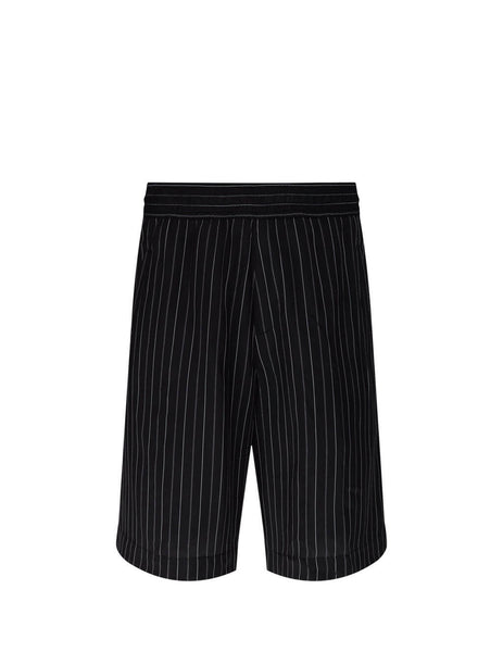 Neil Barrett Men's Giulio Fashion Black Elasticated Pinstripe Shorts BPA768N096524