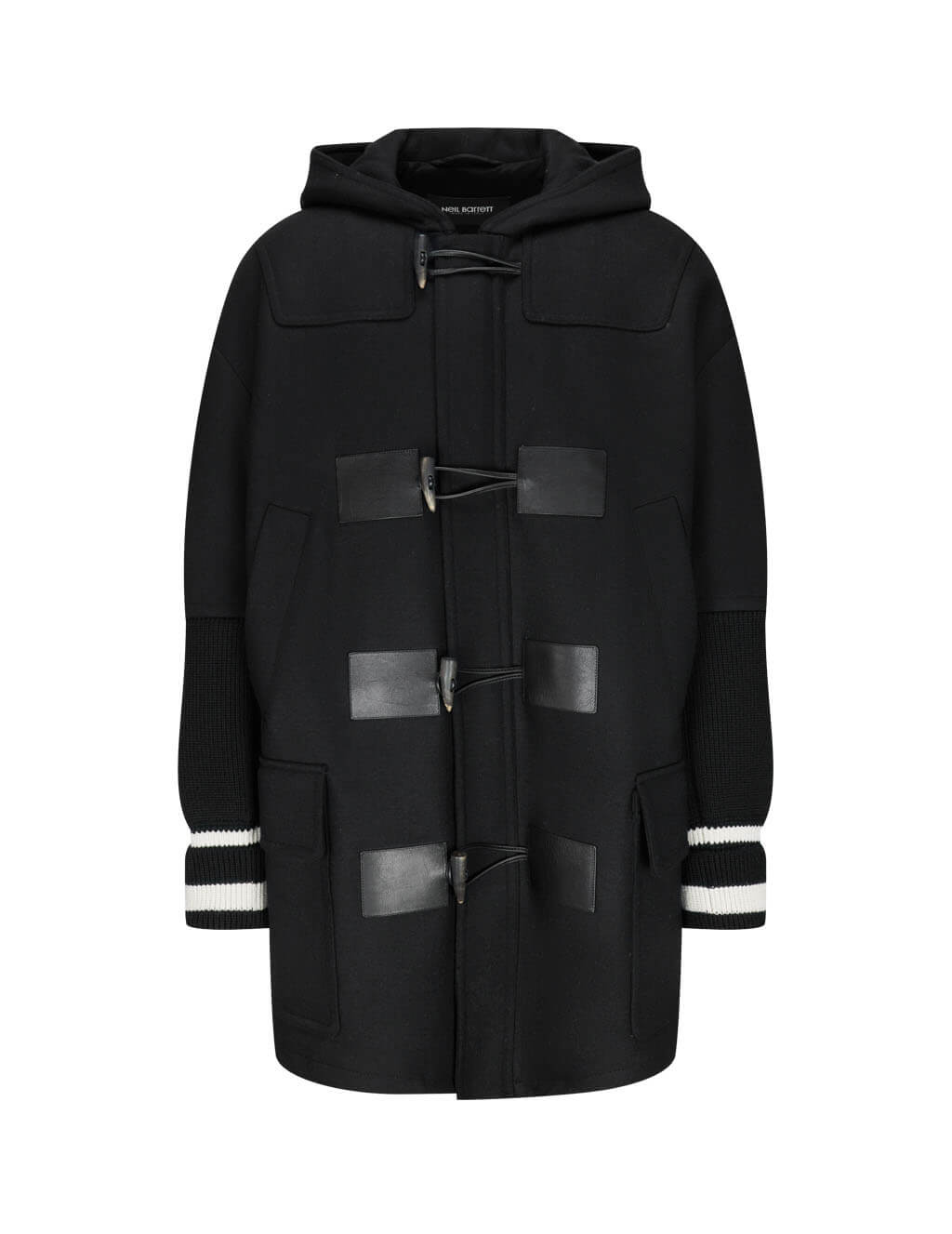 Neil Barrett Men's Black Hooded Duffle Coat BCA349CV-P145C 514