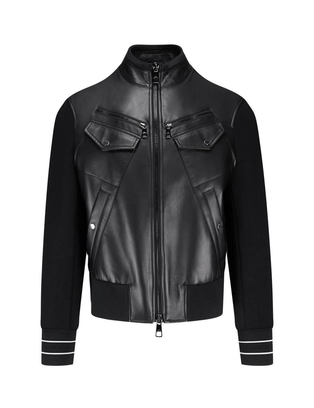 Neil Barrett Men's Giulio Fashion Black Leather Insert Jacket PBPE648C-P700C 2361