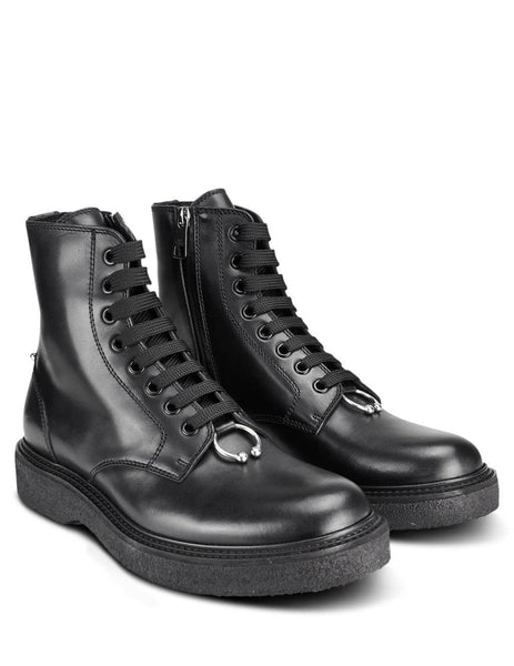 Neil Barrett Men's Giulio Fashion Black Pierced Punk Leather Boots PBSH368M90072012