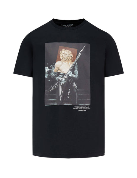 Neil Barrett Men's Giulio Fashion Black The Rockstar T-Shirt PBJT793D-P557S 1874