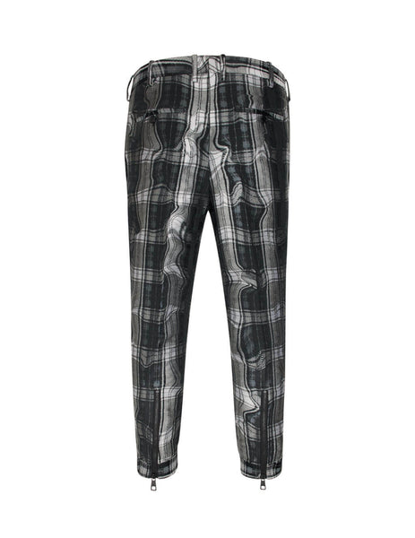 Neil Barrett Men's Giulio Fashion Black Wavy Checked Trousers BPA410HM113524