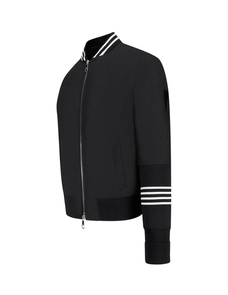 Neil Barrett Men's Giulio Fashion Black Woven Bomber Jacket PBSP510-P000C 1895