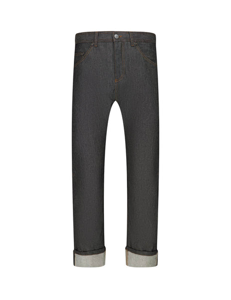 Neil Barrett Men's Black Woven Denim Trousers BDE300C-P802C 1335