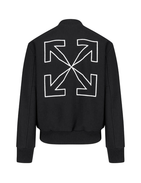 Men's Off-White Arrow Varsity Jacket in Black/White OMEA224E20FAB0011001