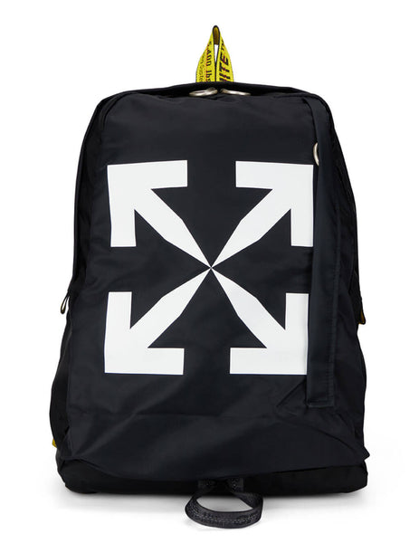 mens off-white arrows easy backpack in black white and yellow OMNB019E20FAB0011001