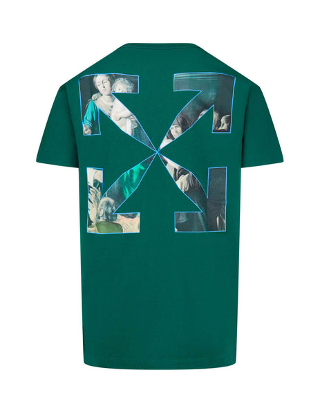 Men's Off-White Caravaggio Painting T-Shirt in Dark Green OMAA027E20JER0085710