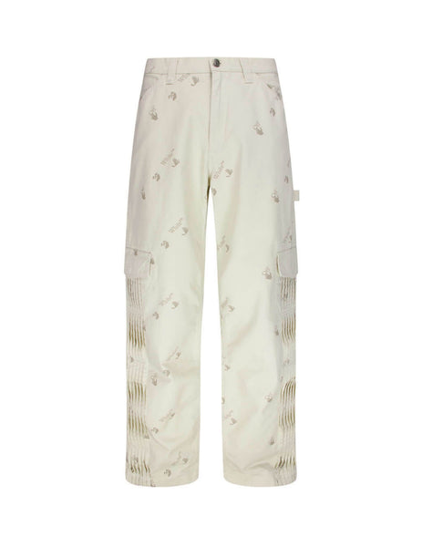 mens off-white carpenter trousers in beige off-white and black OMCA156F20FAB0010310