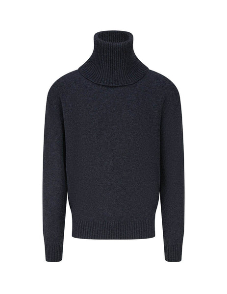 mens off-white cashmere turtleneck jumper in anthracite grey OMHF018F20KNI0011110