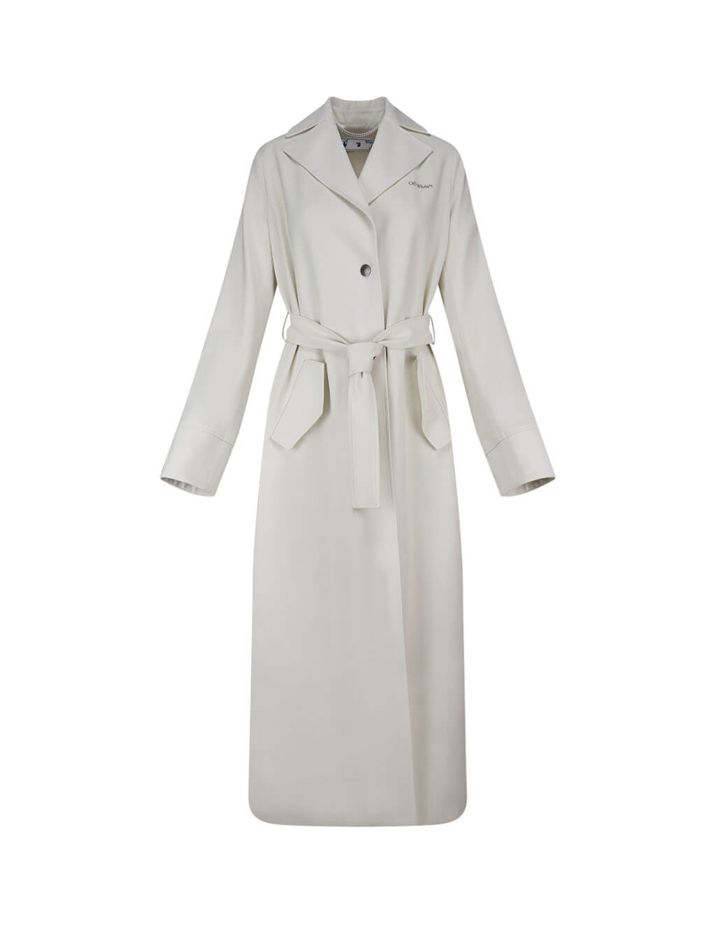 "Women's White Off-White ""CUT HERE"" Gabardine Trench Coat OWEA165S20FAB0030100"