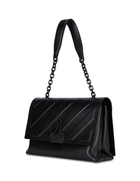 womens off-white diag soft binder clip bag in black OWNA120E20LEA0091000