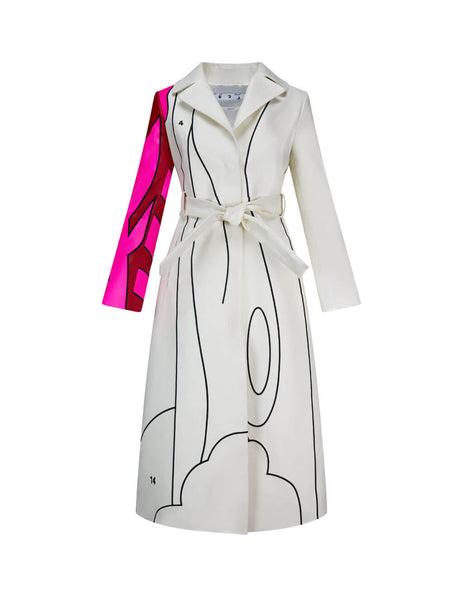 Women's Off-White Embroidered Leather Trench Coat OWJA030S20LEA001032
