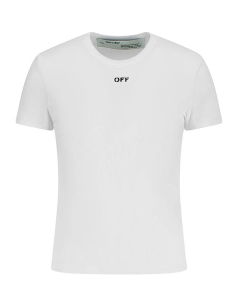 Off-White Women's Giulio Fashion White Fitted S/S T-Shirt OWAA065R20H790950110