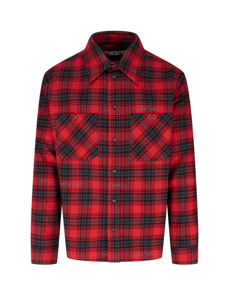 Men's Red and Black Off-White Flannel Check Shirt OMGA133E20FAB0012510