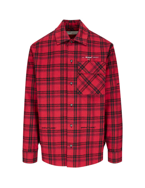 Off-White Men's Red Flannel Check Shirt OMGA098R20G710212001