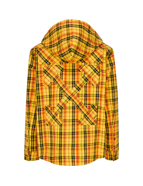 Off-White Men's Yellow Hoodie Check Shirt OMGA099R20G710016000