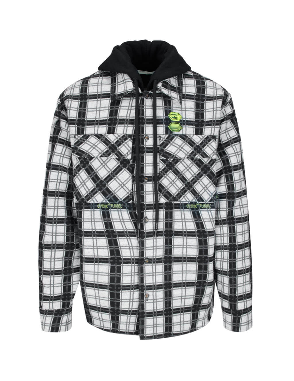 Off-White Men's Black Checked Hoodie Layer Shirt OMGA100R20G530010100