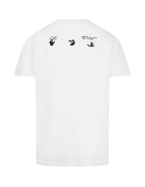Men's Off-White Logo Print Crewneck T-Shirt in White/Black OMAA027E20JER0020110