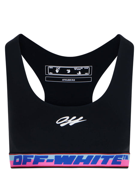 Women's Off-White Logo Tape Crop Top in Black/White - OWVO015R21JER0011001