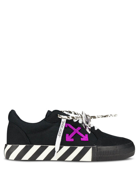 Men's Off-White Low Vulcanized Sneakers in Black/Purple OMIA085E20FAB0011037