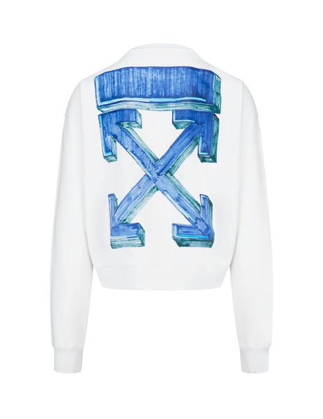 Men's Off-White Marker Pen Arrows Crewneck Sweatshirt in White/Blue OMBA035E20FLE0020145