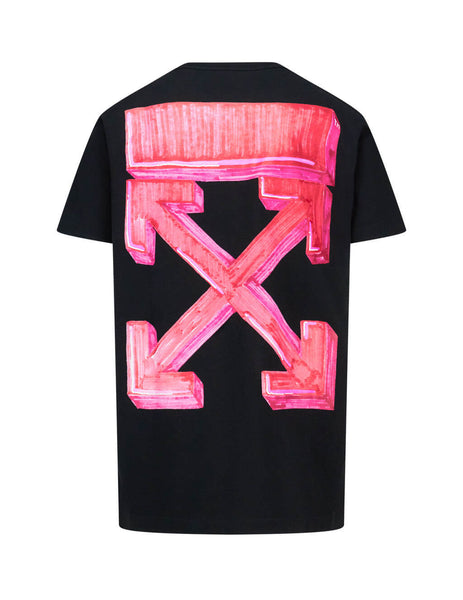 Men's Off-White Marker Pen Arrows T-Shirt in Black/Red OMAA027E20JER0051025