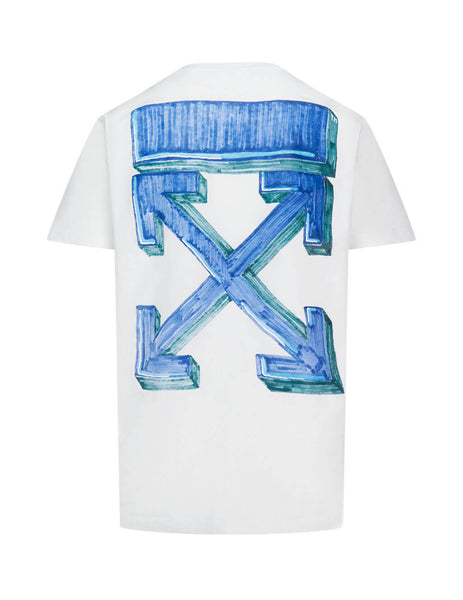 Men's Off-White Marker Pen Arrows T-Shirt in White/Blue OMAA027E20JER0050145