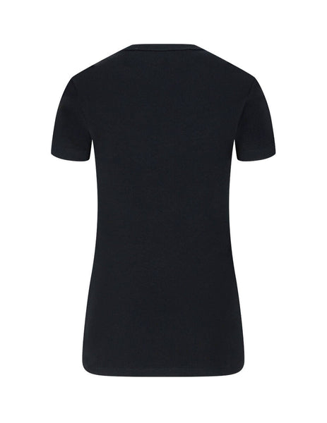 Women's Black Off-White Off Fitted Tee OWAA065E20JER0011001