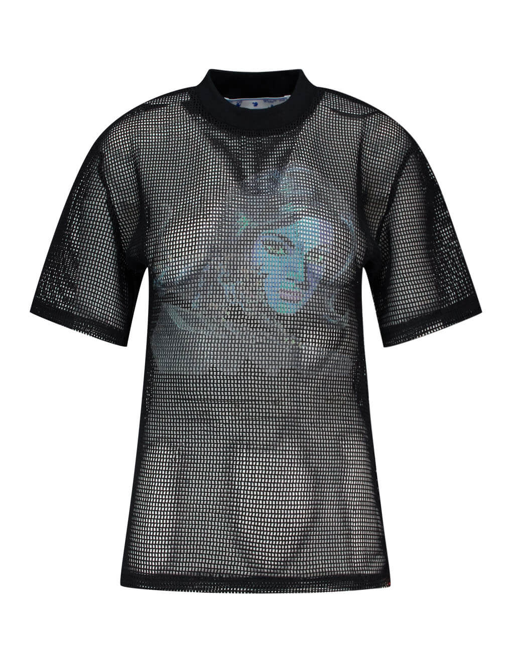 Women's Black and Blue Off-White Panther Printed Draped Net Top OWAD113S20FAB0011045