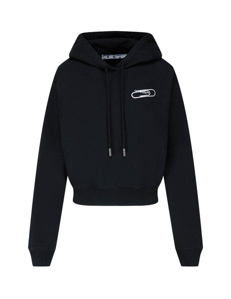 Women's Black Off-White Paper Clip Cropped Hoodie OWBB016E20FLE0011001