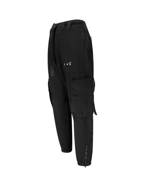 Men's Black Off-White Parachute Cargo Pants OMCF004E20FAB0011001