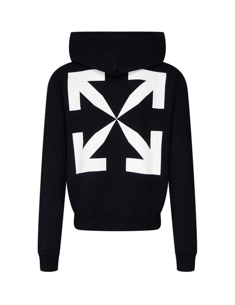 mens off-white pascal print slim fit hoodie in black and white OMBB034F20FLE0111001